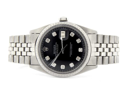 Rolex Stainless Steel Datejust 1603 Black Diamond-6