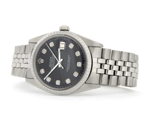 Rolex Stainless Steel Datejust 1603 Black Diamond-7