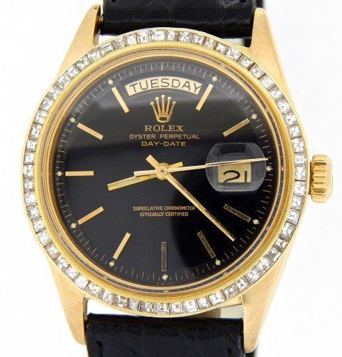Rolex 18K Yellow Gold Day-Date President 1803 Black -1
