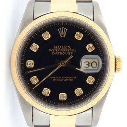 Mens Rolex Two-Tone 18K/SS Datejust Black Diamond 16233