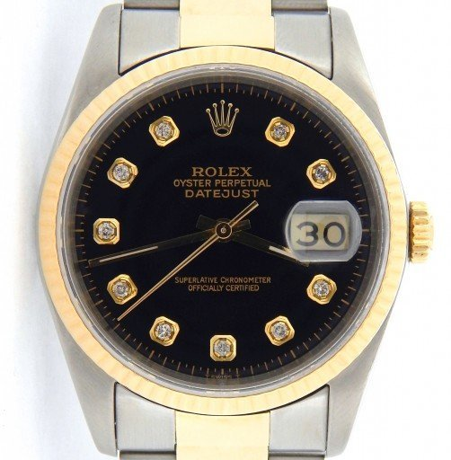 Rolex Two-Tone Datejust 16233 Black Diamond-1
