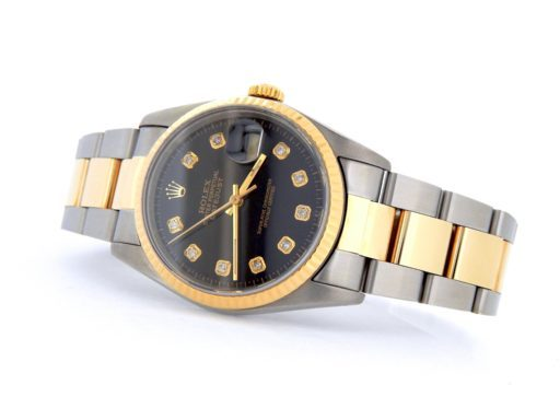 Rolex Two-Tone Datejust 16233 Black Diamond-5
