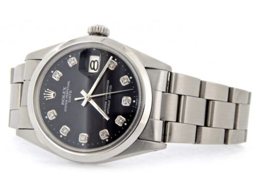 Rolex Stainless Steel Date 1500 Black Diamond-7