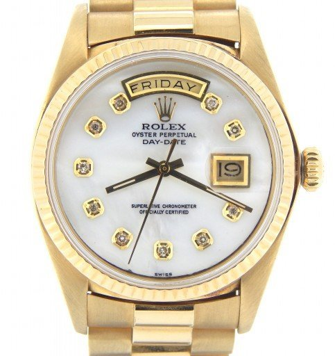 Rolex 18K Yellow Gold Day-Date President 1803 White MOP Diamond-1