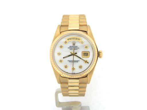Rolex 18K Yellow Gold Day-Date President 1803 White MOP Diamond-9