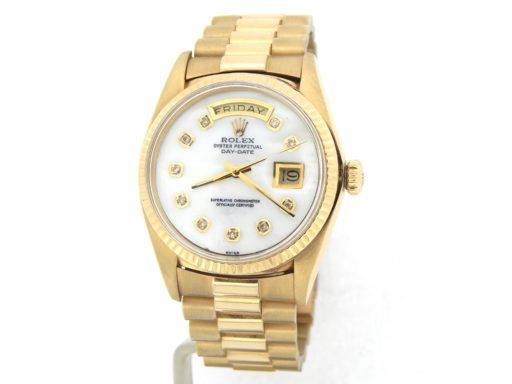 Rolex 18K Yellow Gold Day-Date President 1803 White MOP Diamond-8