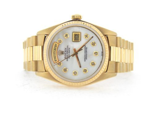 Rolex 18K Yellow Gold Day-Date President 1803 White MOP Diamond-6