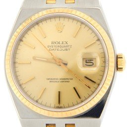 Pre Owned Mens Rolex Two-Tone Oysterquartz Datejust Gold Champagne 17013