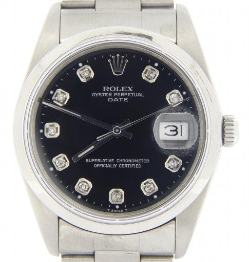 Rolex Stainless Steel Date 15200 Black Diamond-9