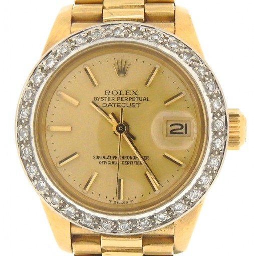 Rolex Yellow Gold Datejust President Diamond Champagne-1