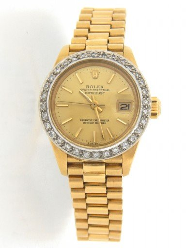 Rolex Yellow Gold Datejust President Diamond Champagne-7