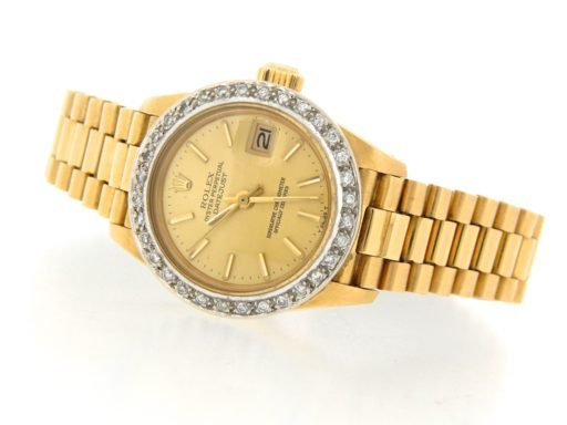 Rolex Yellow Gold Datejust President Diamond Champagne-6