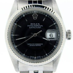 Mens Rolex Stainless Steel Datejust Black  16014