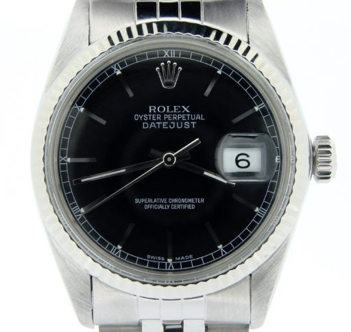 Rolex Stainless Steel Datejust 16014 Black -1