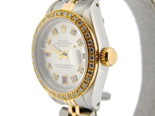 Rolex Two-Tone Datejust 69173 Silver Diamond & Ruby-4