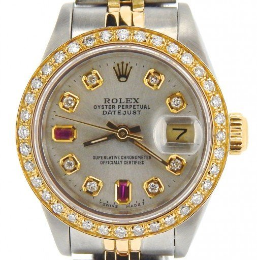 Rolex Two-Tone Datejust 69173 Silver Diamond-1