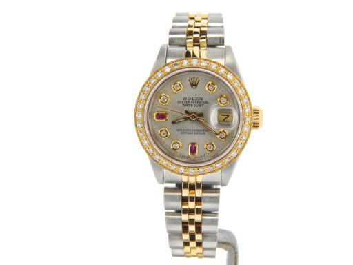 Rolex Two-Tone Datejust 69173 Silver Diamond & Ruby-5
