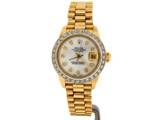 Rolex Yellow Gold Datejust President Diamond 6917 White MOP-8