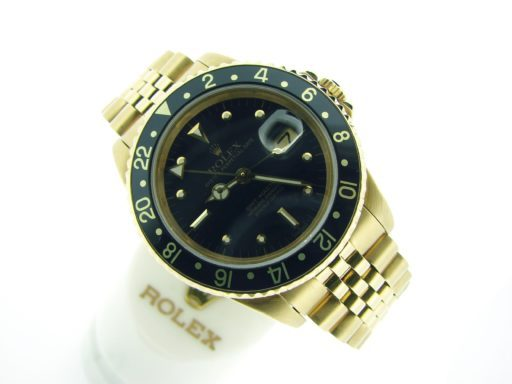 Rolex 18K Yellow Gold GMT-Master 16758 Black Nipple-8