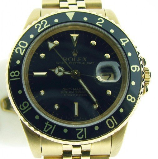 Rolex 18K Yellow Gold GMT-Master 16758 Black Nipple-1