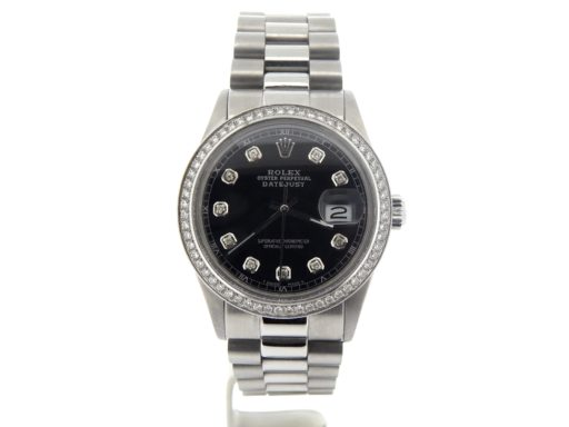 Rolex Stainless Steel Datejust 16030 Black Diamond-6