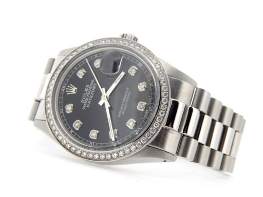 Rolex Stainless Steel Datejust 16030 Black Diamond-5