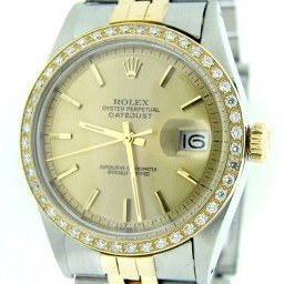 Mens Rolex Two-Tone 18K/SS Datejust Diamond Champagne  1601