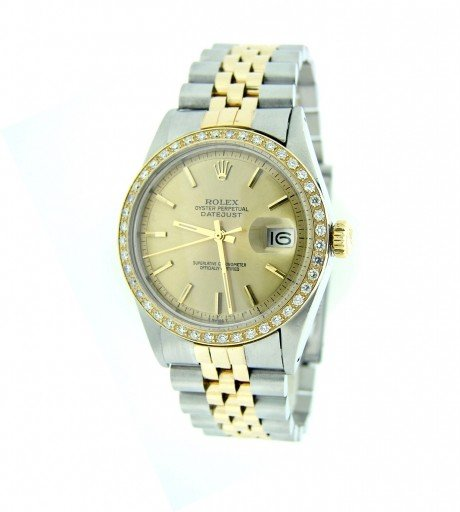 Rolex Two-Tone Datejust 1601 Diamond Champagne-7