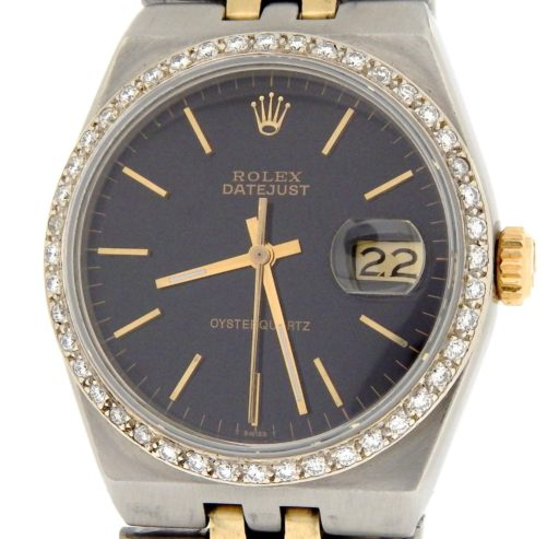 Rolex Two-Tone Datejust Oysterquartz 17013 Diamond Black-1