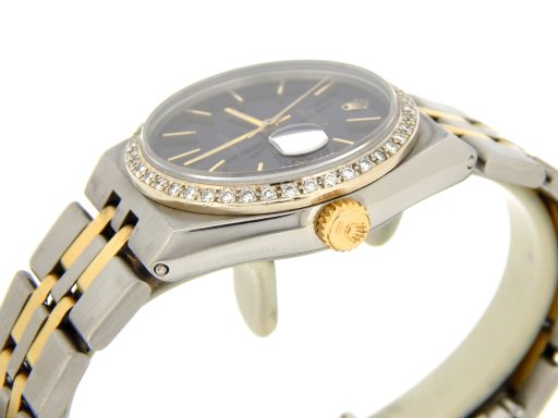 Rolex Two-Tone Datejust Oysterquartz 17013 Diamond Black-5