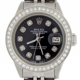 Ladies Rolex Stainless Steel Datejust Black Diamond (SKU 3680996MT)