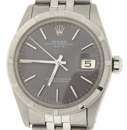 Rolex Stainless Steel Date 1501 Gray Slate -1