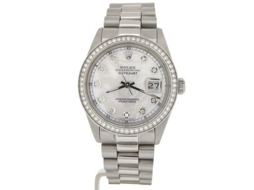 Rolex Stainless Steel Datejust 16030 White MOP Diamond-8
