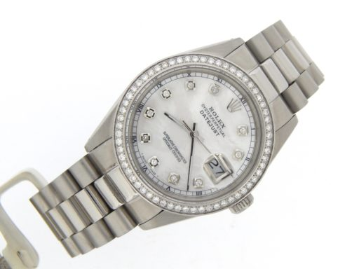Rolex Stainless Steel Datejust 16030 White MOP Diamond-6