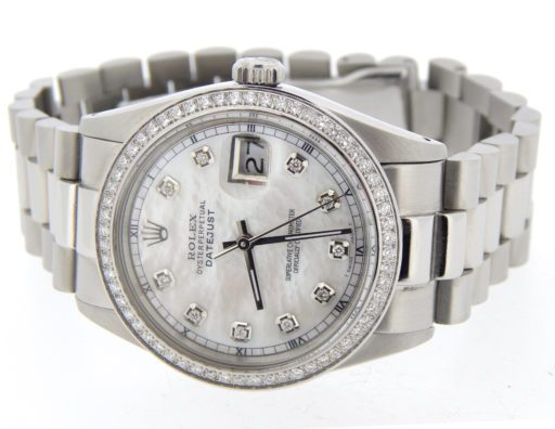 Rolex Stainless Steel Datejust 16030 White MOP Diamond-7