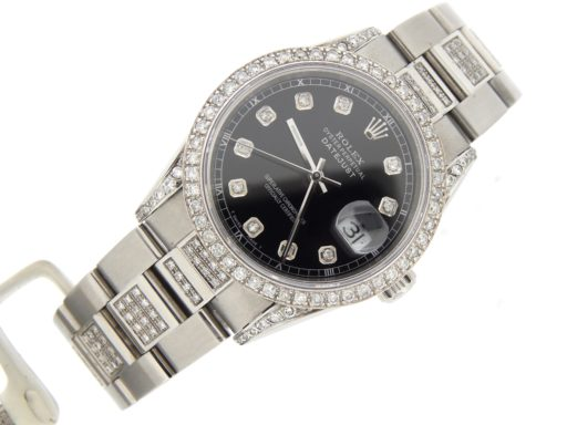 Rolex Stainless Steel Datejust 16234 Black Diamond-6