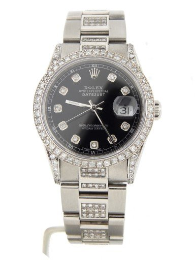 Rolex Stainless Steel Datejust 16234 Black Diamond-7
