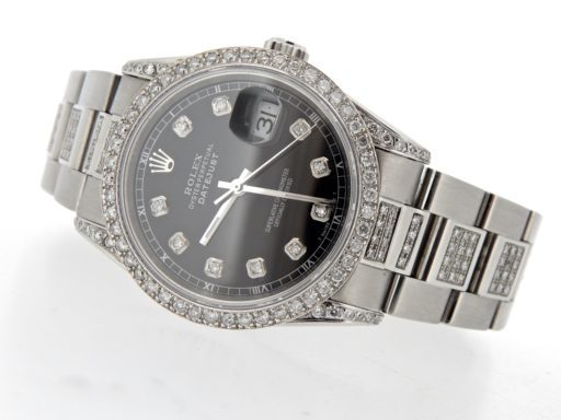 Rolex Stainless Steel Datejust 16234 Black Diamond-5