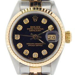 Ladies Rolex Two-Tone 14K/SS Datejust Black Diamond 6917