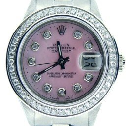 Ladies Rolex Stainless Steel Datejust Pink MOP Diamond (SKU DJ2058DMT)