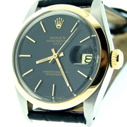 Mens Rolex Two-Tone 14K/SS Date Black  1500