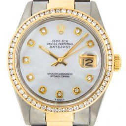 Mens Rolex Two-Tone 18K/SS Datejust White MOP Diamond 16013