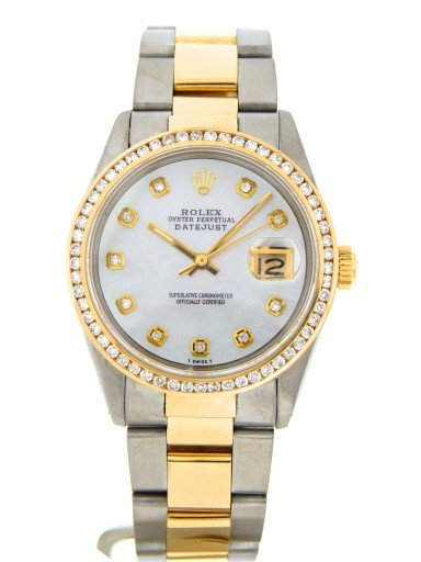 Rolex Two-Tone Datejust 16013 White MOP Diamond-10