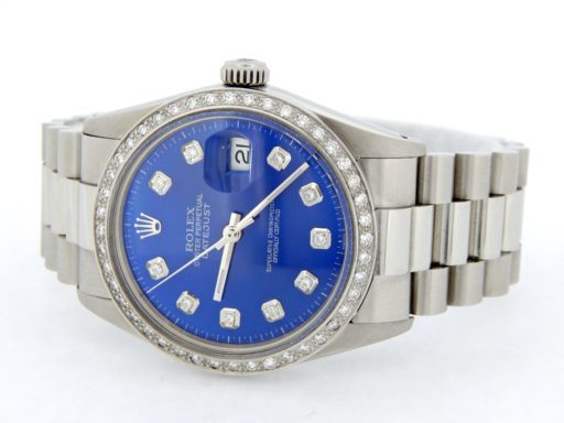 Rolex Stainless Steel Datejust 16014 Blue Diamond-8