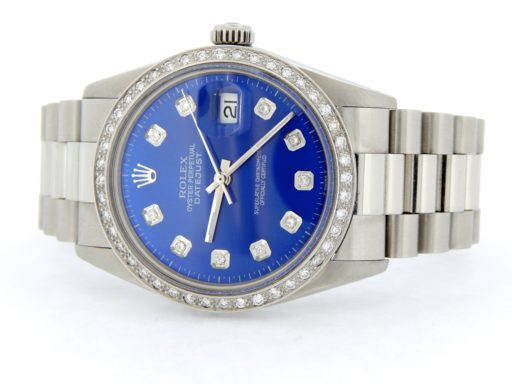 Rolex Stainless Steel Datejust 16014 Blue Diamond-9