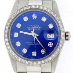 Mens Rolex Stainless Steel Datejust Blue Diamond 16030