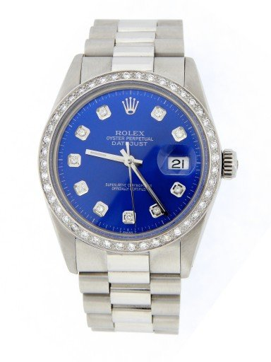 Rolex Stainless Steel Datejust 16014 Blue Diamond-10