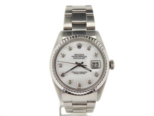 Rolex Stainless Steel Datejust 1603 White MOP Diamond-6