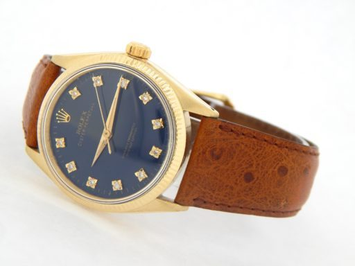 Rolex 14K Yellow Gold Oyster Perpetual 1002 Blue Diamond-10