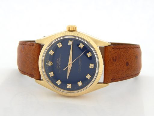 Rolex 14K Yellow Gold Oyster Perpetual 1002 Blue Diamond-6